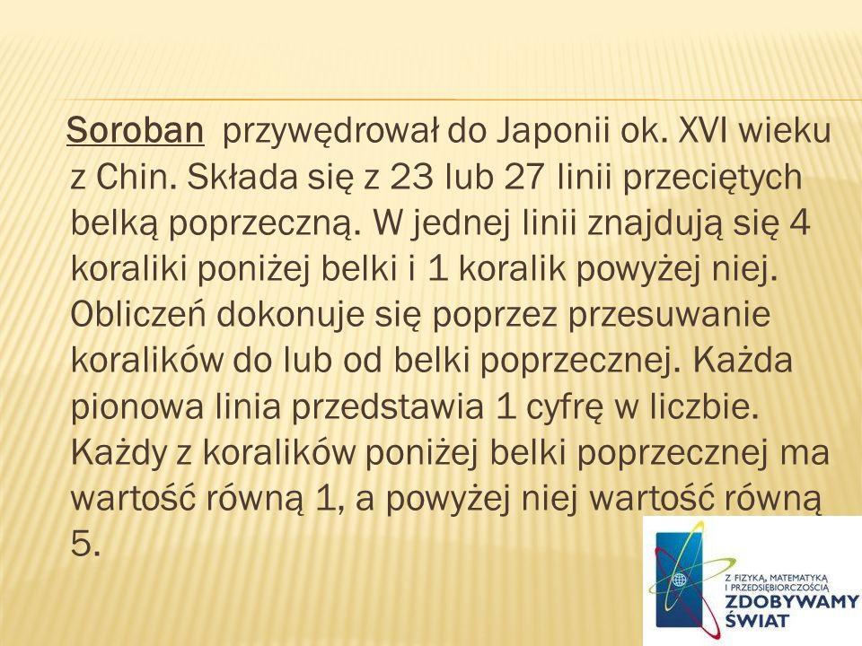 Soroban przywędrował do Japonii ok. XVI wieku z Chin. Składa się z 23 lub 27 linii przeciętych belką poprzeczną. W jednej linii znajdują się 4 koralik