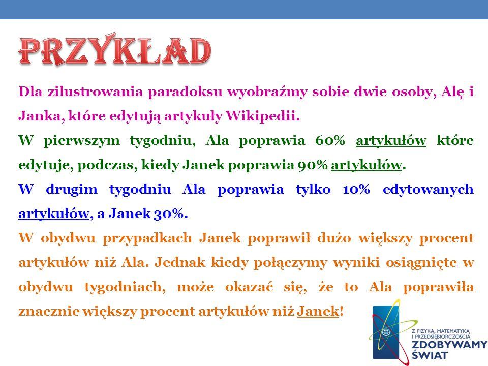 Dla zilustrowania paradoksu wyobraźmy sobie dwie osoby, Alę i Janka, które edytują artykuły Wikipedii.