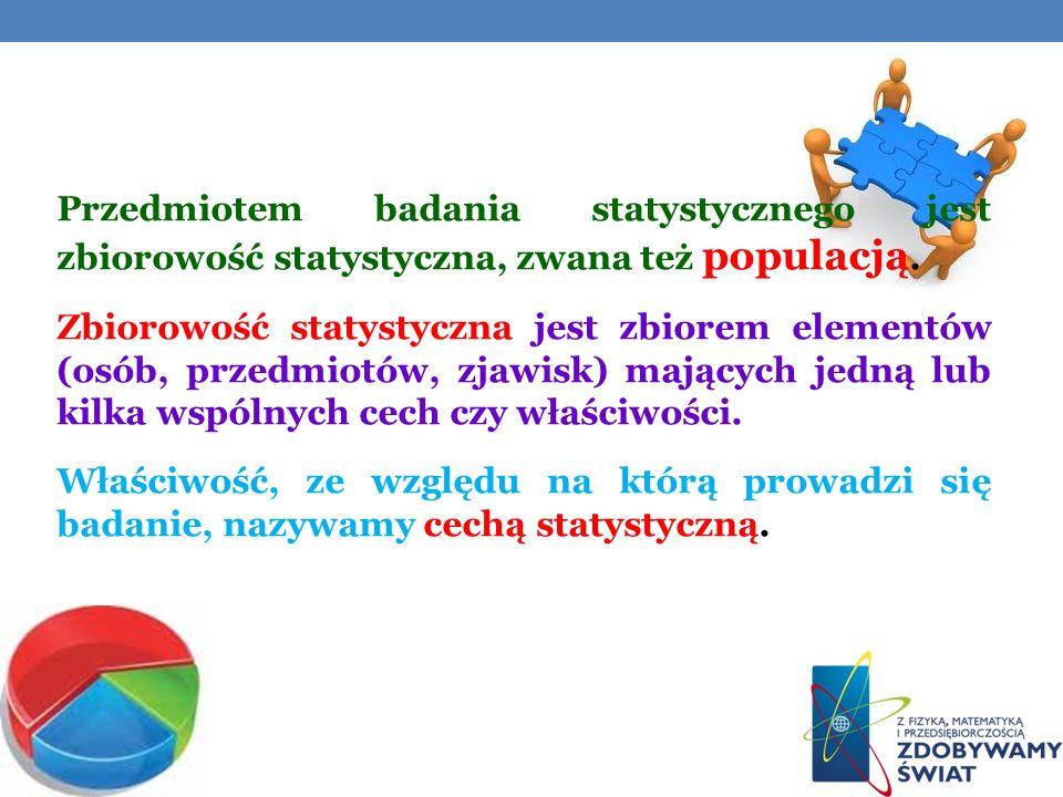 Przedmiotem badania statystycznego jest zbiorowość statystyczna, zwana też populacją.