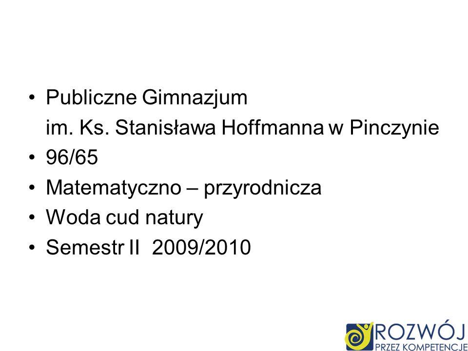 Publiczne Gimnazjum im. Ks. Stanisława Hoffmanna w Pinczynie 96/65 Matematyczno – przyrodnicza Woda cud natury Semestr II 2009/2010
