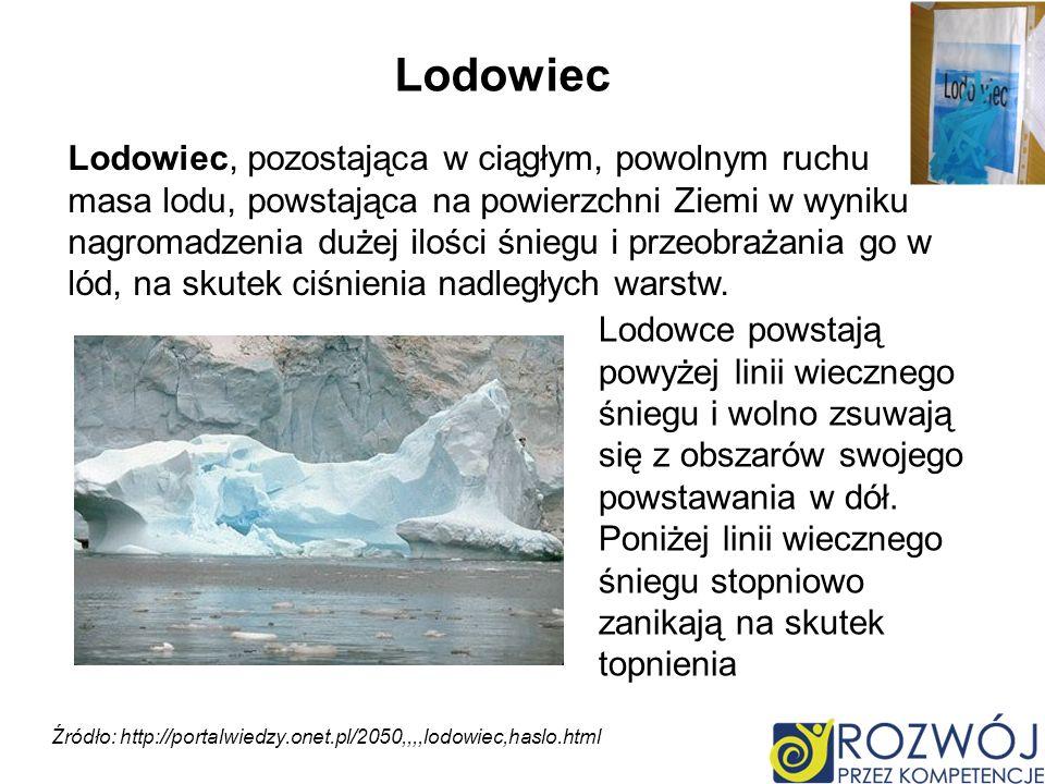 Lodowiec, pozostająca w ciągłym, powolnym ruchu masa lodu, powstająca na powierzchni Ziemi w wyniku nagromadzenia dużej ilości śniegu i przeobrażania