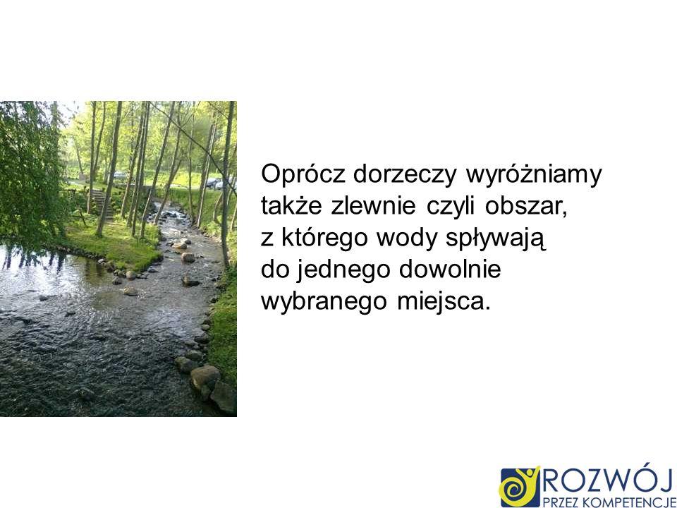 Oprócz dorzeczy wyróżniamy także zlewnie czyli obszar, z którego wody spływają do jednego dowolnie wybranego miejsca.