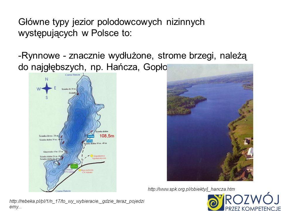 Główne typy jezior polodowcowych nizinnych występujących w Polsce to: -Rynnowe - znacznie wydłużone, strome brzegi, należą do najgłębszych, np.