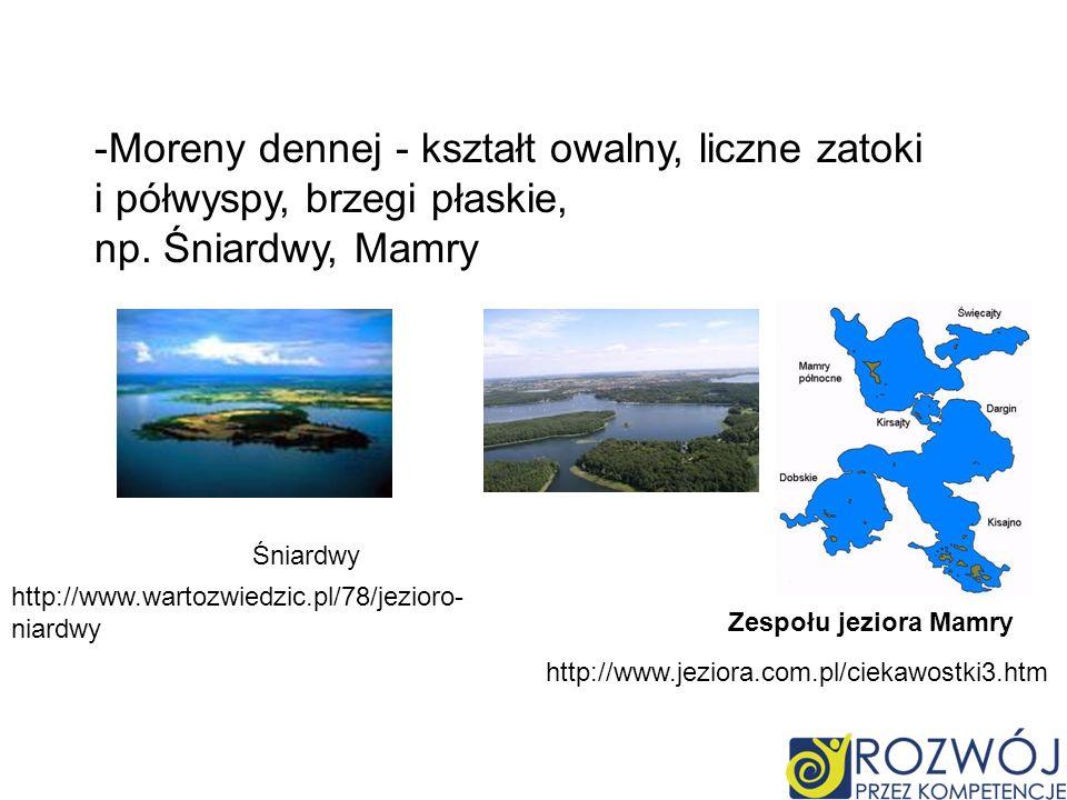 -Moreny dennej - kształt owalny, liczne zatoki i półwyspy, brzegi płaskie, np.