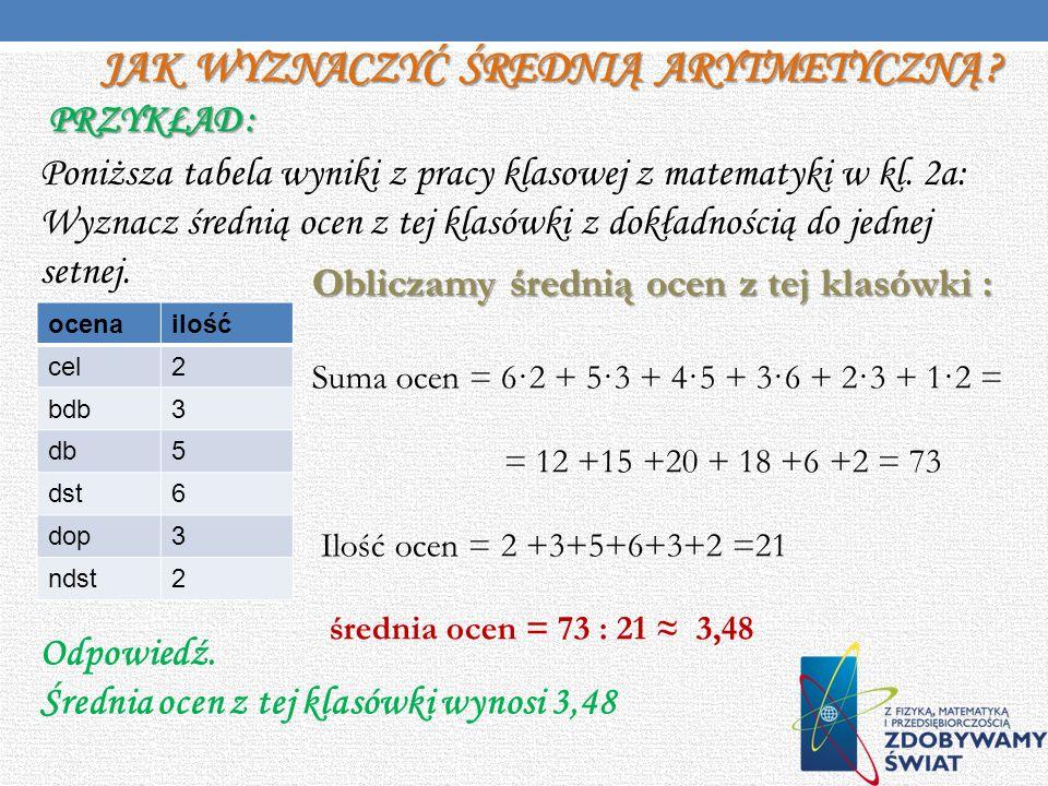 Średnia arytmetyczna - suma wartości wszystkich jednostek zbiorowości statystycznej, podzielona przez liczebność tej zbiorowości (tj. liczbę tych jedn