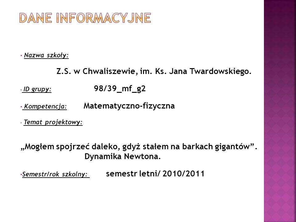 Nazwa szkoły: Z.S.w Chwaliszewie, im. Ks. Jana Twardowskiego.
