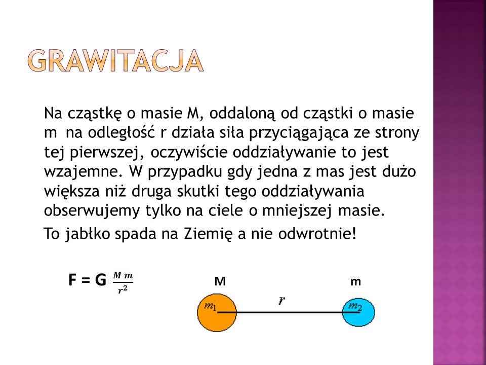 Na cząstkę o masie M, oddaloną od cząstki o masie m na odległość r działa siła przyciągająca ze strony tej pierwszej, oczywiście oddziaływanie to jest wzajemne.