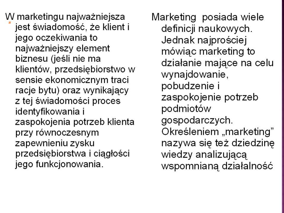 Marketing to menedżerskie zadanie rozpoznania, uprzedzania i zaspokajania wymagań klienta w sposób zapewniający jego satysfakcję i przynoszący zysk, p