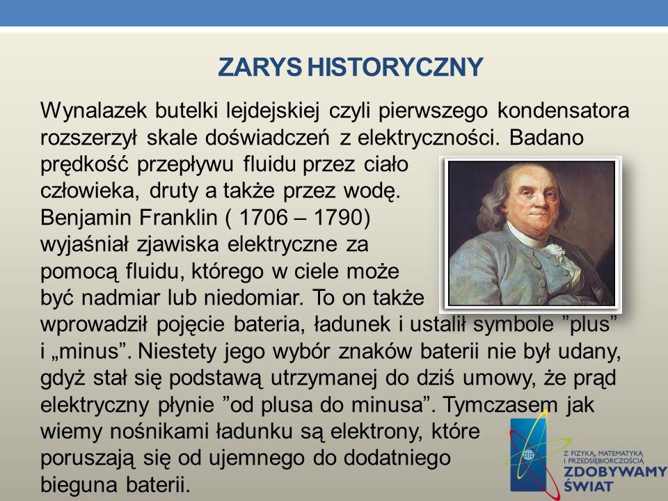ZARYS HISTORYCZNY W roku 1729 Stephen Gray wykazał, że elektryczność może być przesyłana na odległość, a w 1733 r. Charles Francois Du Fay podzielił e