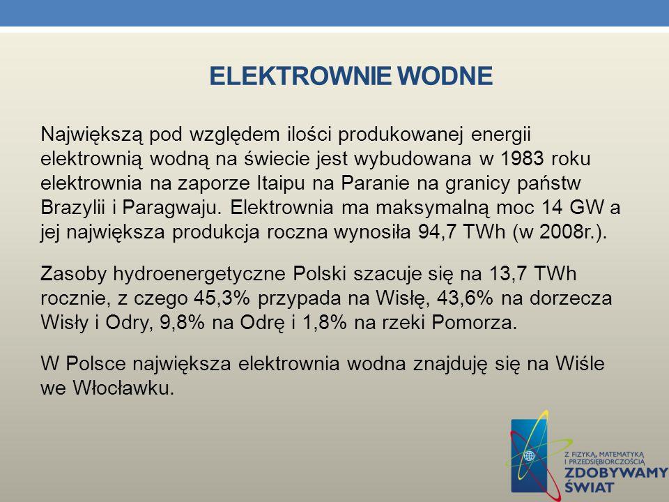 ELEKTROWNIE WODNE Elektrownia wodna to zakład przemysłowy zamieniający energię spadku wody na elektryczną. Elektrownie wodne można podzielić na elektr