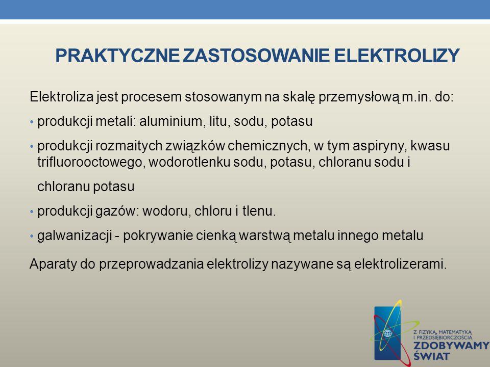 ELEKTROLIZA W chemii i fizyce - ogólna nazwa na wszelkie zmiany struktury chemicznej substancji, zachodzące pod wpływem przyłożonego do niej zewnętrznego napięcia elektrycznego.