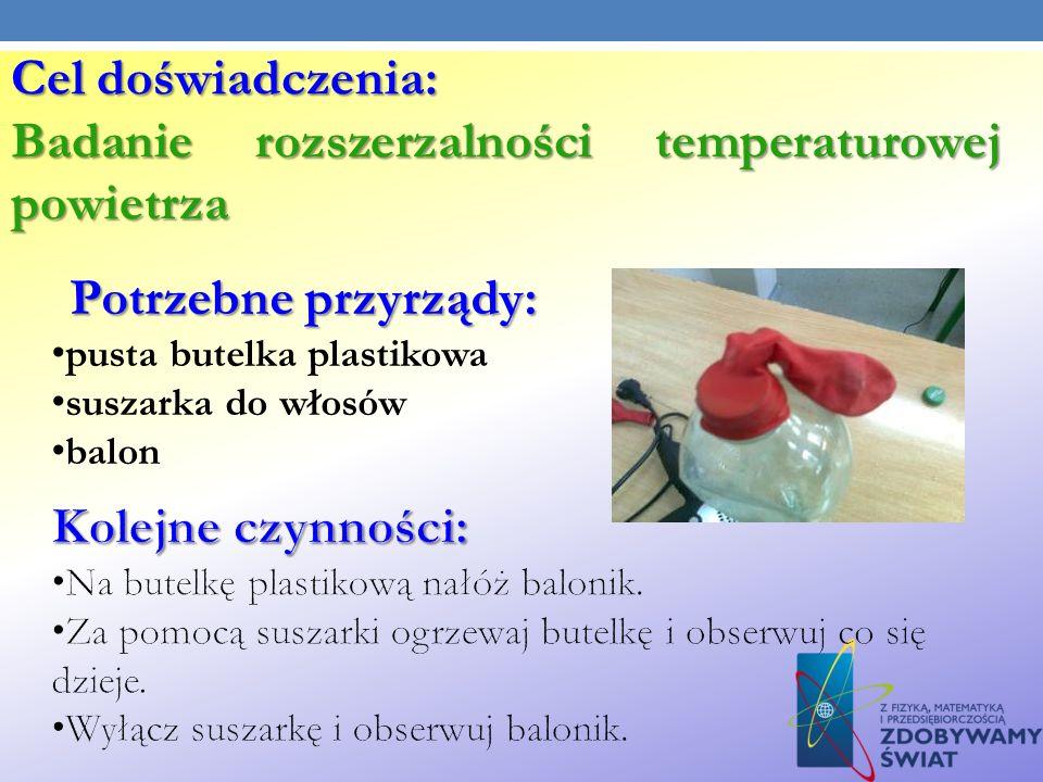 Cel doświadczenia: Badanie rozszerzalności temperaturowej powietrza Potrzebne przyrządy: pusta butelka plastikowa suszarka do włosów balon
