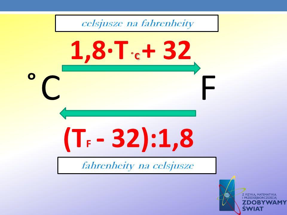 ̊C F C 1,8·T ̊C + 32 (T F - 32):1,8
