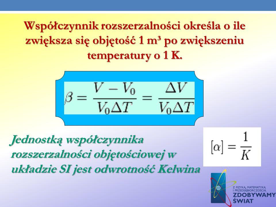 Współczynnik rozszerzalności określa o ile zwiększa się objętość 1 m³ po zwiększeniu temperatury o 1 K. Jednostką współczynnika rozszerzalności objęto
