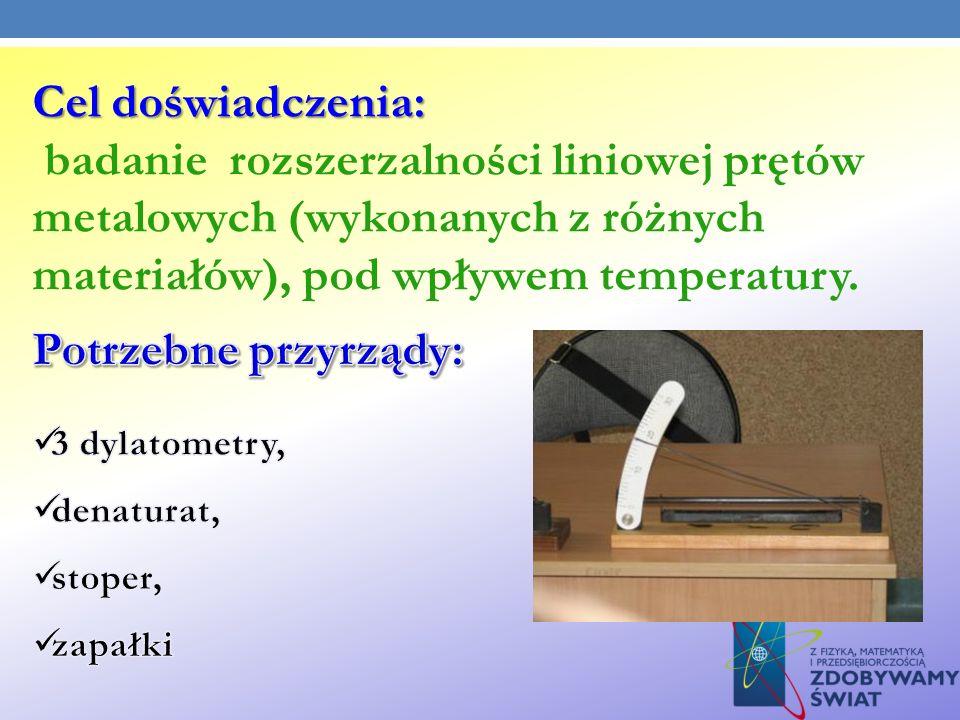 Cel doświadczenia: Cel doświadczenia: badanie rozszerzalności liniowej prętów metalowych (wykonanych z różnych materiałów), pod wpływem temperatury.