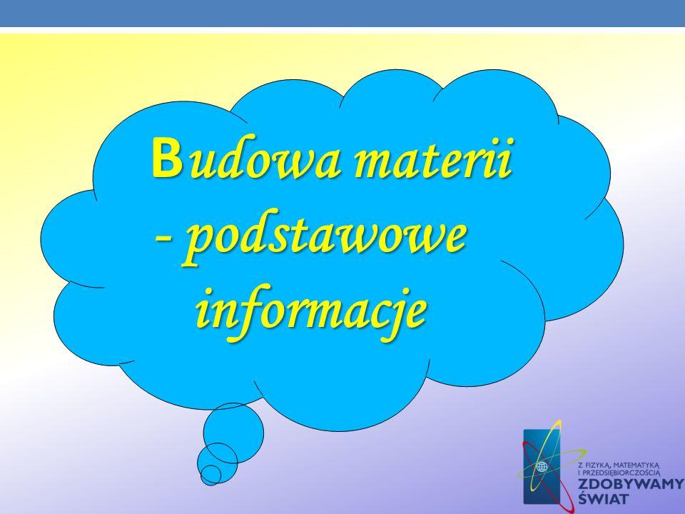 B udowa materii - podstawowe informacje B udowa materii - podstawowe informacje