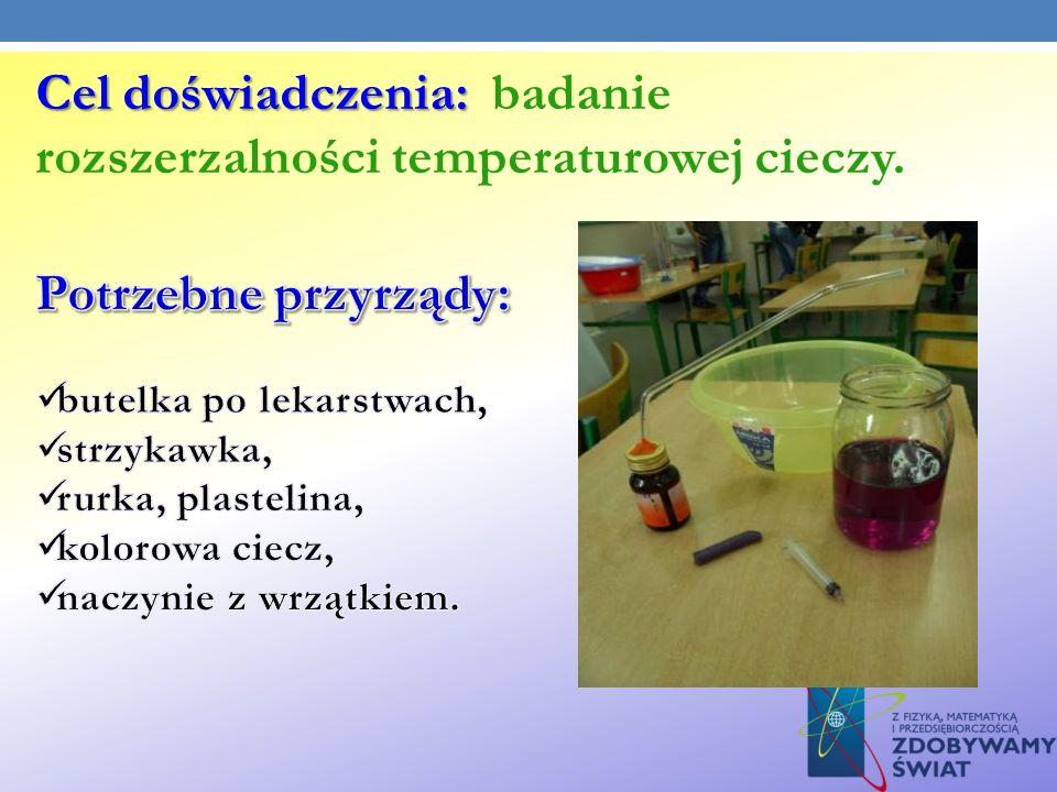 Cel doświadczenia: Cel doświadczenia: badanie rozszerzalności temperaturowej cieczy.