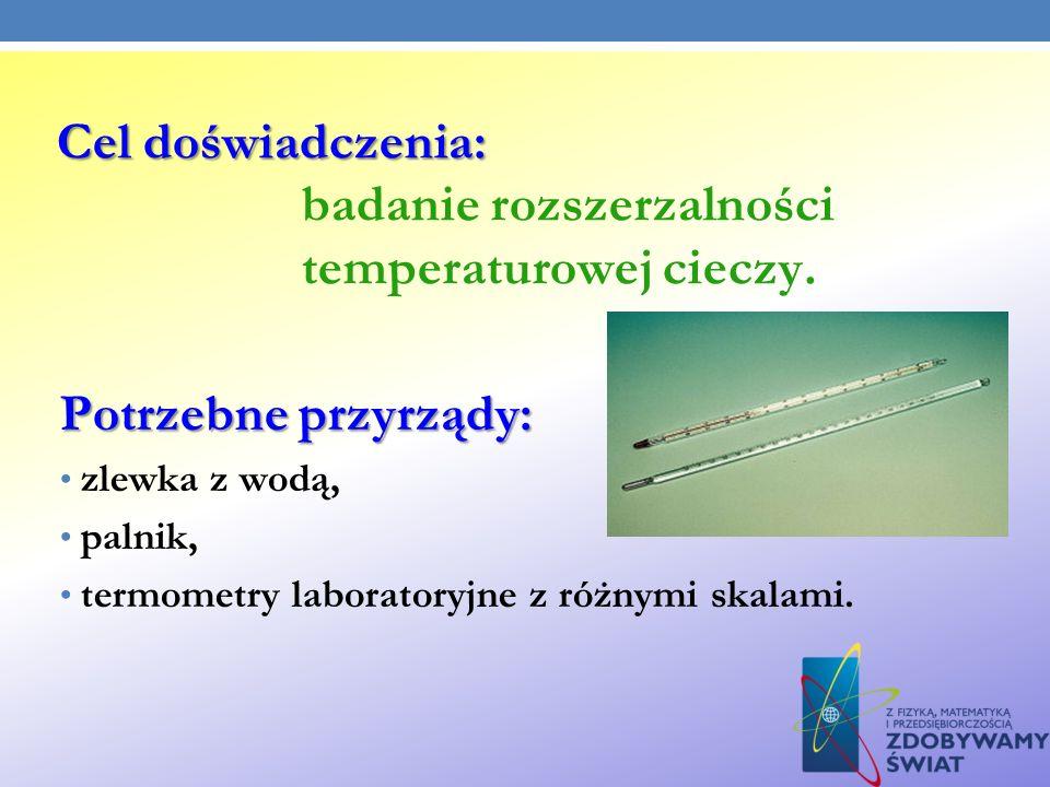 Cel doświadczenia: Cel doświadczenia: badanie rozszerzalności temperaturowej cieczy. Potrzebne przyrządy: zlewka z wodą, palnik, termometry laboratory