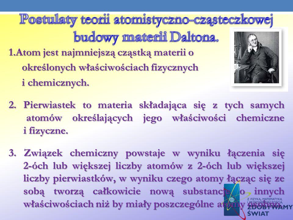 1.Atom jest najmniejszą cząstką materii o określonych właściwościach fizycznych określonych właściwościach fizycznych i chemicznych. i chemicznych. 2.