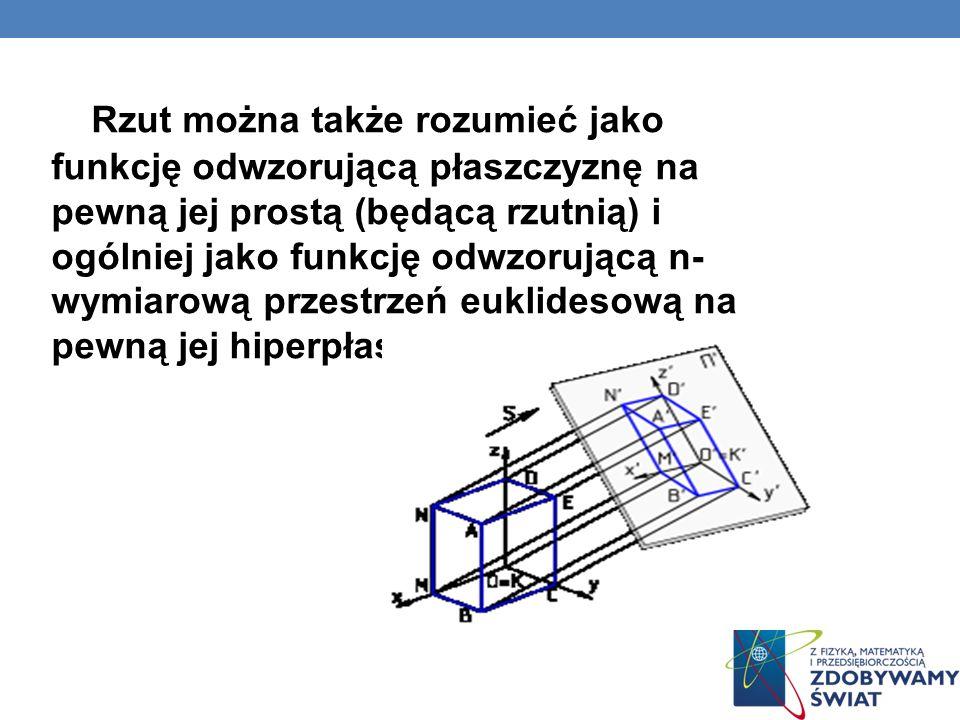 RZUTNIA Rzutnia jest najczęściej płaszczyzną, choć stosuje się również rzuty na powierzchnię kuli, walca, stożka i inne.