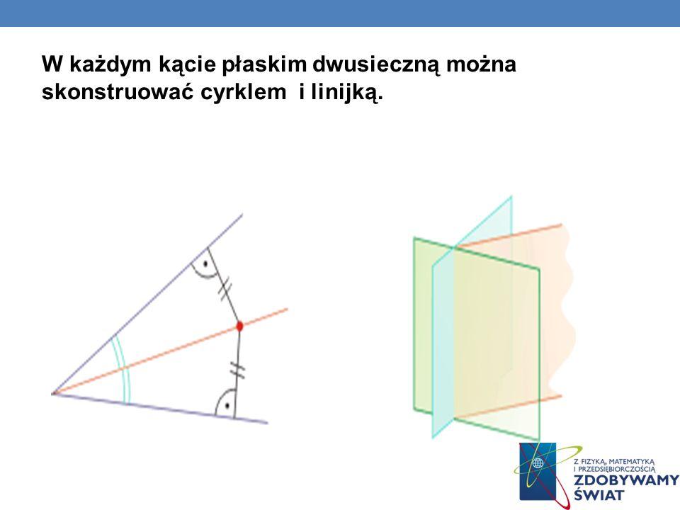 WŁASNOŚCI Dwusieczna kąta płaskiego to prosta (dla kąta dwuściennego - płaszczyzna) przechodząca przez wierzchołek kąta (dla kąta dwuściennego przez krawędź) i dzielącą go na dwa kąty przystające (stąd nazwa: dwu-sieczna = krojąca na połowy).