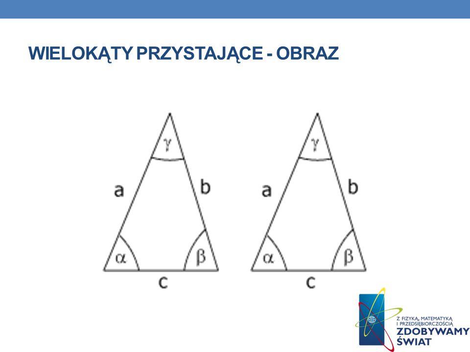 WIELOKĄTY PRZYSTAJĄCE Przystające wielokąty Odpowiednie boki oraz kąty wielokątów przystających są równe.