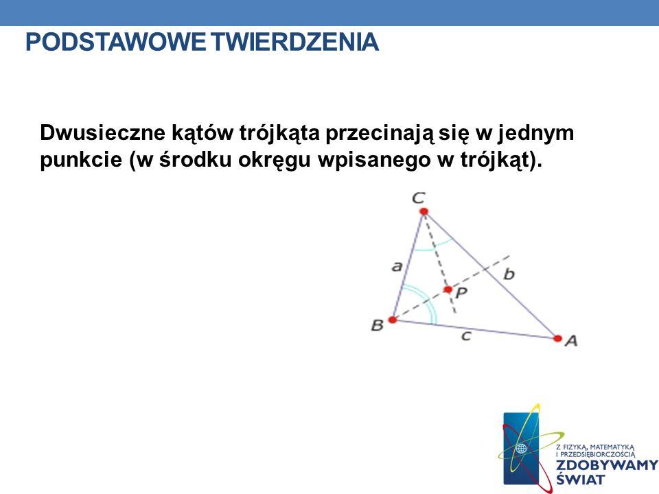 PODSTAWOWE TWIERDZENIA Dwusieczne kątów trójkąta przecinają się w jednym punkcie (w środku okręgu wpisanego w trójkąt).
