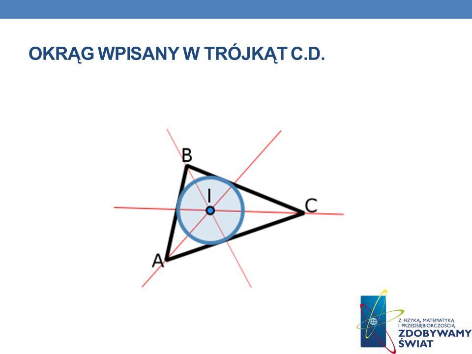 OKRĄG WPISANY W TRÓJKĄT Okrąg wpisany w wielokąt to okrąg, który jest styczny do każdego boku wielokąta.