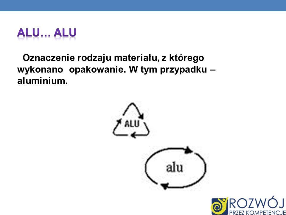 Oznaczenie rodzaju materiału, z którego wykonano opakowanie. W tym przypadku – aluminium.