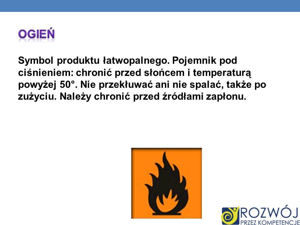 Symbol produktu łatwopalnego. Pojemnik pod ciśnieniem: chronić przed słońcem i temperaturą powyżej 50°. Nie przekłuwać ani nie spalać, także po zużyci