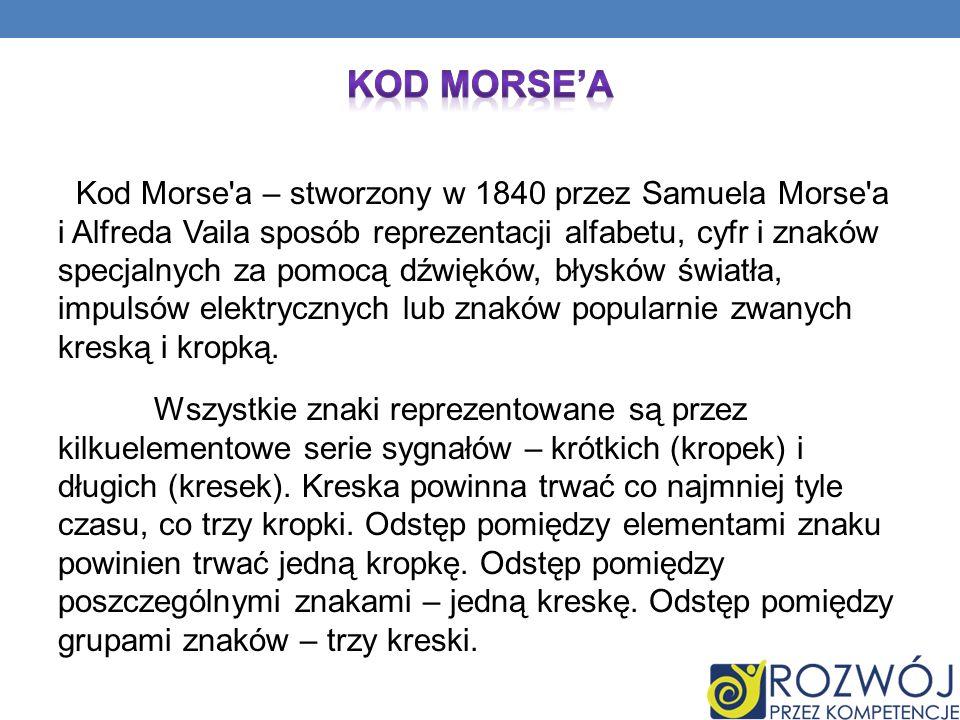 Kod Morse'a – stworzony w 1840 przez Samuela Morse'a i Alfreda Vaila sposób reprezentacji alfabetu, cyfr i znaków specjalnych za pomocą dźwięków, błys