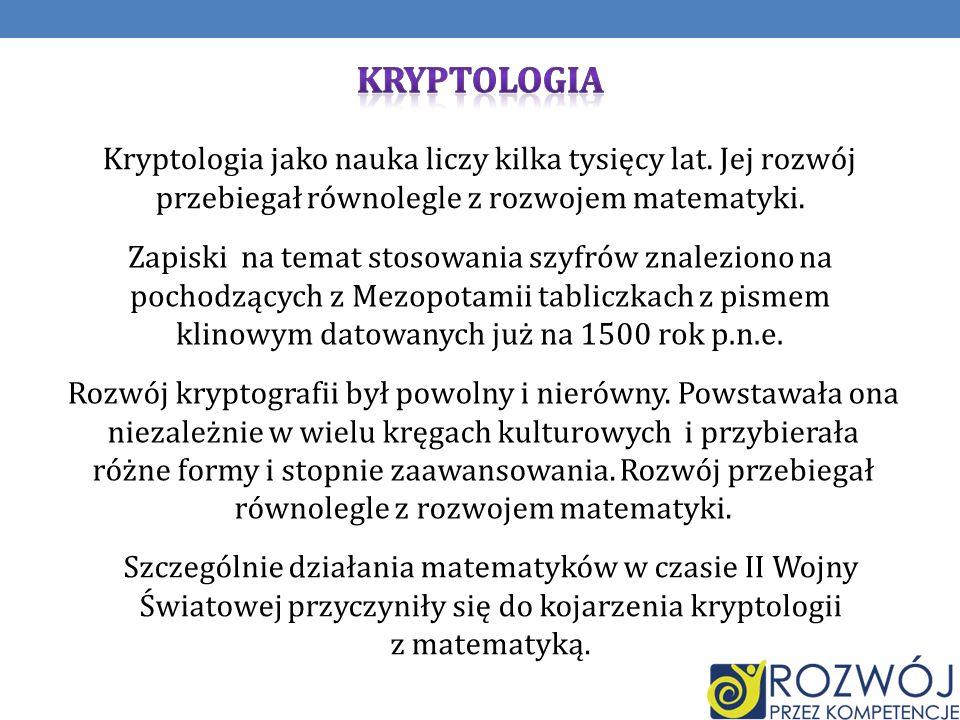 Kryptologia jako nauka liczy kilka tysięcy lat. Jej rozwój przebiegał równolegle z rozwojem matematyki. Zapiski na temat stosowania szyfrów znaleziono