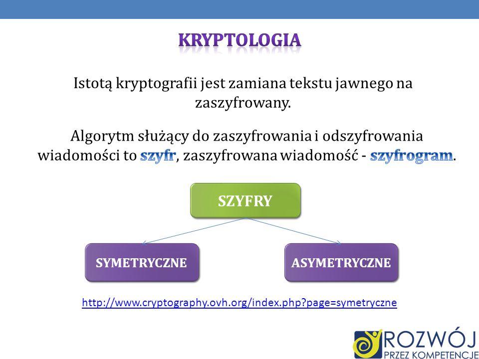 Istotą kryptografii jest zamiana tekstu jawnego na zaszyfrowany. SZYFRY SYMETRYCZNE ASYMETRYCZNE http://www.cryptography.ovh.org/index.php?page=symetr