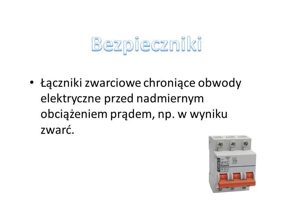 topikowe - przerywają obwód, w którym są zainstalowane, wskutek stopienia się jednego z elementów, gdy przepływający przez nie prąd przekroczy pewną wartość krytyczną topikowo-rozrywne - w razie niebezpieczeństwa przerwę w obwodzie powoduje sprężyna w chwili stopienia sie czujnika samoczynne (automatyczne) - przerywają zagrożony obwód w efekcie zadziałania wyzwalacza elektromagnetycznego lub cieplnego, termobimetalicznego