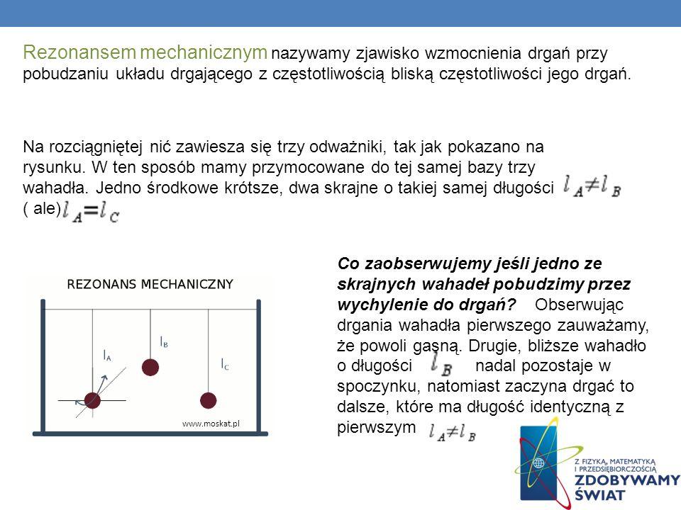 Rezonansem mechanicznym nazywamy zjawisko wzmocnienia drgań przy pobudzaniu układu drgającego z częstotliwością bliską częstotliwości jego drgań. Na r