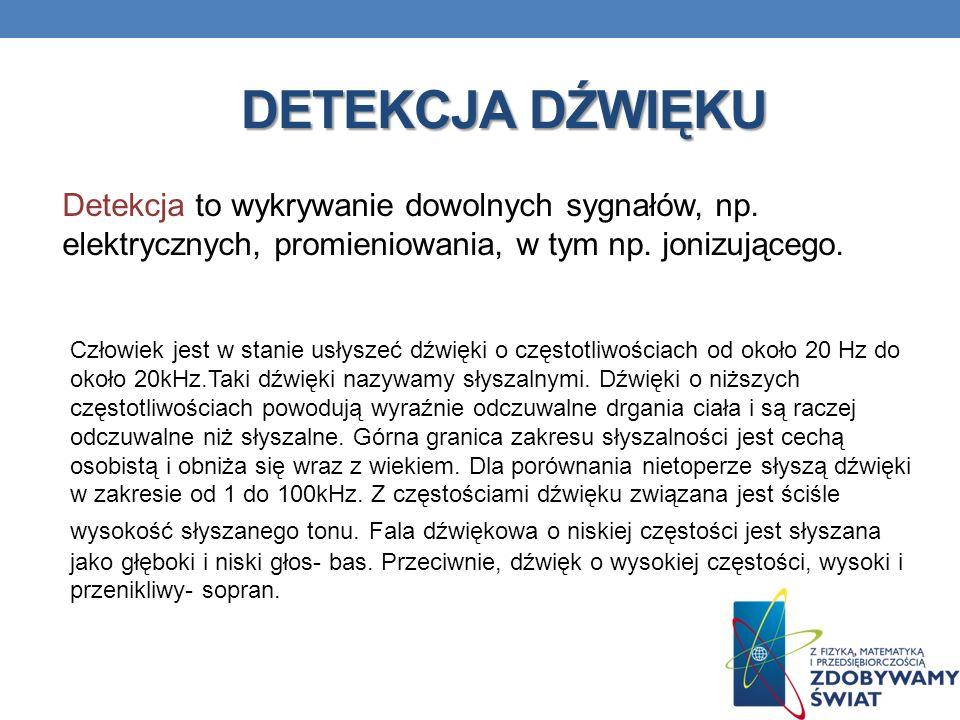 DETEKCJA DŹWIĘKU Detekcja to wykrywanie dowolnych sygnałów, np. elektrycznych, promieniowania, w tym np. jonizującego. Człowiek jest w stanie usłyszeć