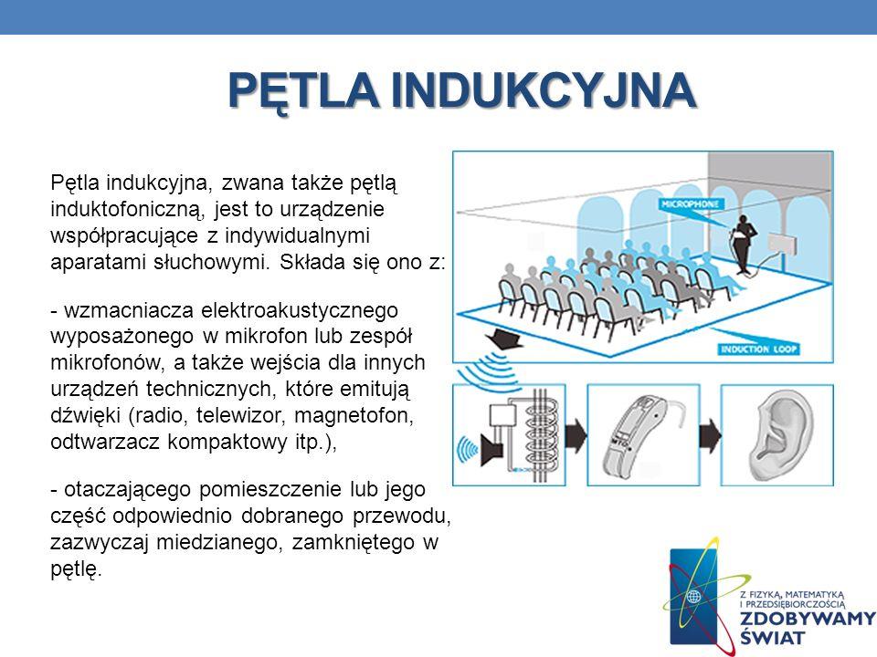 PĘTLA INDUKCYJNA Pętla indukcyjna, zwana także pętlą induktofoniczną, jest to urządzenie współpracujące z indywidualnymi aparatami słuchowymi. Składa