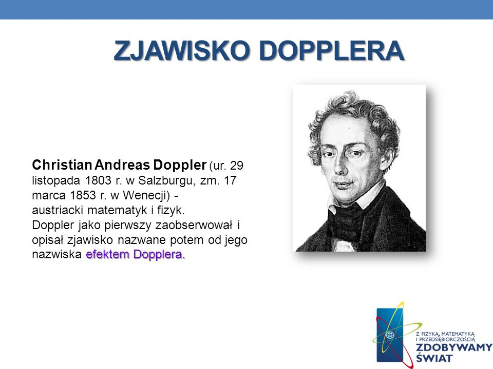 ZJAWISKO DOPPLERA efektem Dopplera.Christian Andreas Doppler (ur.