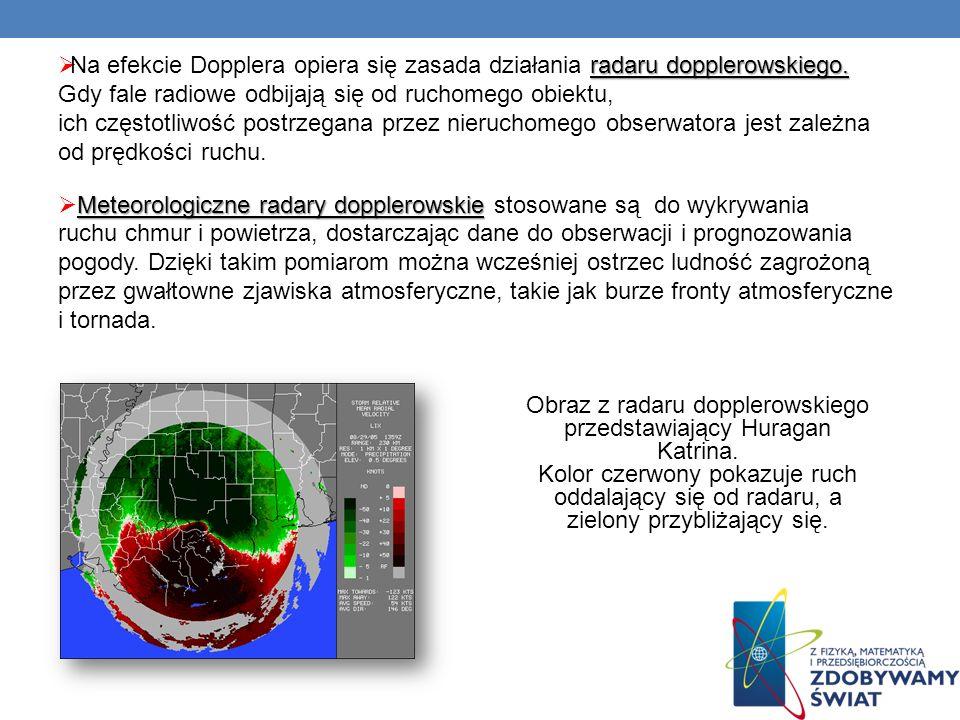 radaru dopplerowskiego. Na efekcie Dopplera opiera się zasada działania radaru dopplerowskiego. Gdy fale radiowe odbijają się od ruchomego obiektu, ic