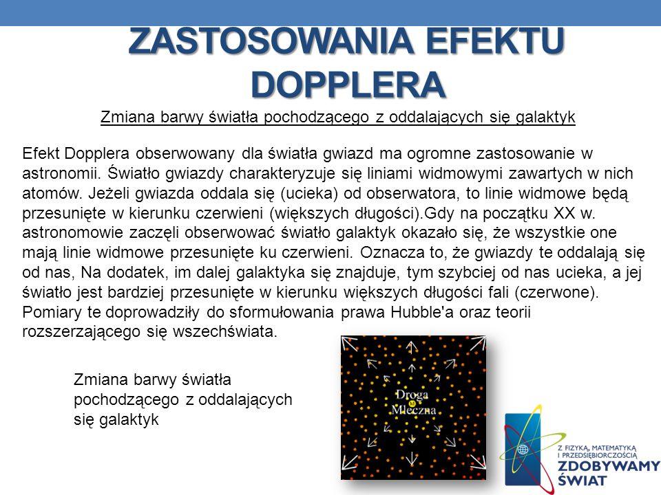 ZASTOSOWANIA EFEKTU DOPPLERA Zmiana barwy światła pochodzącego z oddalających się galaktyk Efekt Dopplera obserwowany dla światła gwiazd ma ogromne za
