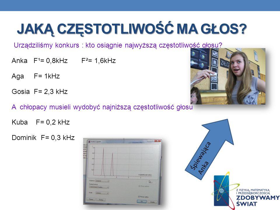 JAKĄ CZĘSTOTLIWOŚĆ MA GŁOS? Urządziliśmy konkurs : kto osiągnie najwyższą częstotliwość głosu? Anka F¹= 0,8kHz F²= 1,6kHz Aga F= 1kHz Gosia F= 2,3 kHz