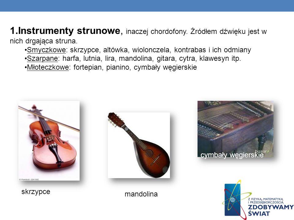 1.Instrumenty strunowe, inaczej chordofony. Źródłem dźwięku jest w nich drgająca struna. Smyczkowe: skrzypce, altówka, wiolonczela, kontrabas i ich od