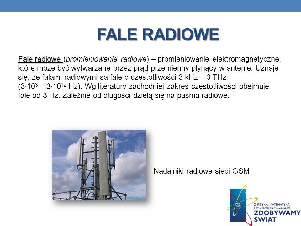 FALE RADIOWE Fale radiowe Fale radiowe (promieniowanie radiowe) – promieniowanie elektromagnetyczne, które może być wytwarzane przez prąd przemienny p