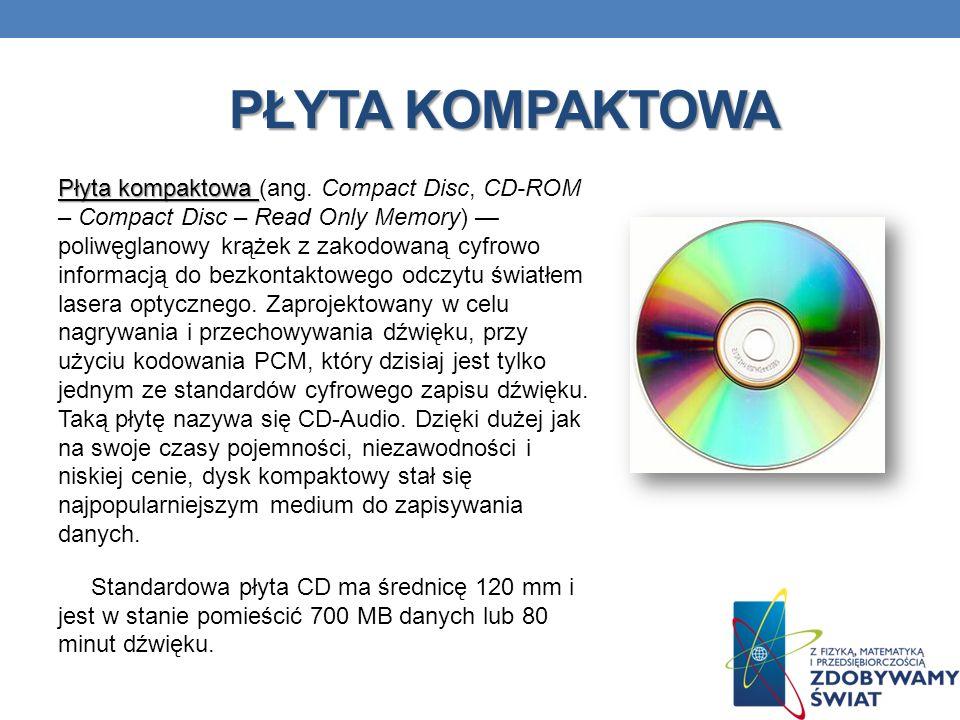 PŁYTA KOMPAKTOWA Płyta kompaktowa Płyta kompaktowa (ang. Compact Disc, CD-ROM – Compact Disc – Read Only Memory) poliwęglanowy krążek z zakodowaną cyf