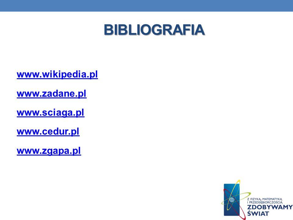 BIBLIOGRAFIA www.wikipedia.pl www.zadane.pl www.sciaga.pl www.cedur.pl www.zgapa.pl