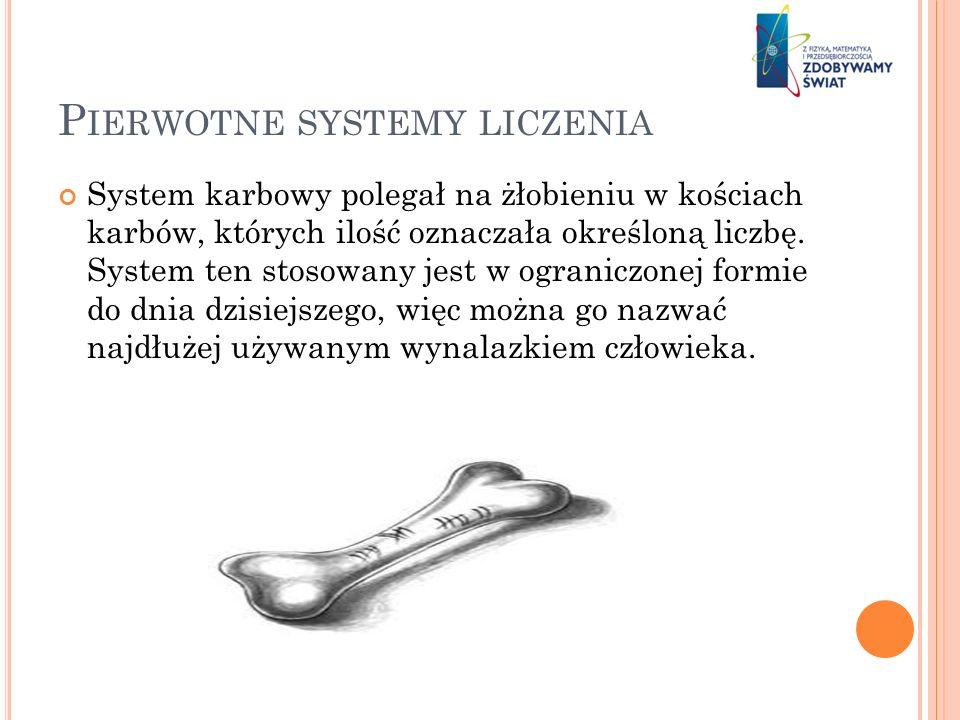 P IERWOTNE SYSTEMY LICZENIA System karbowy polegał na żłobieniu w kościach karbów, których ilość oznaczała określoną liczbę. System ten stosowany jest