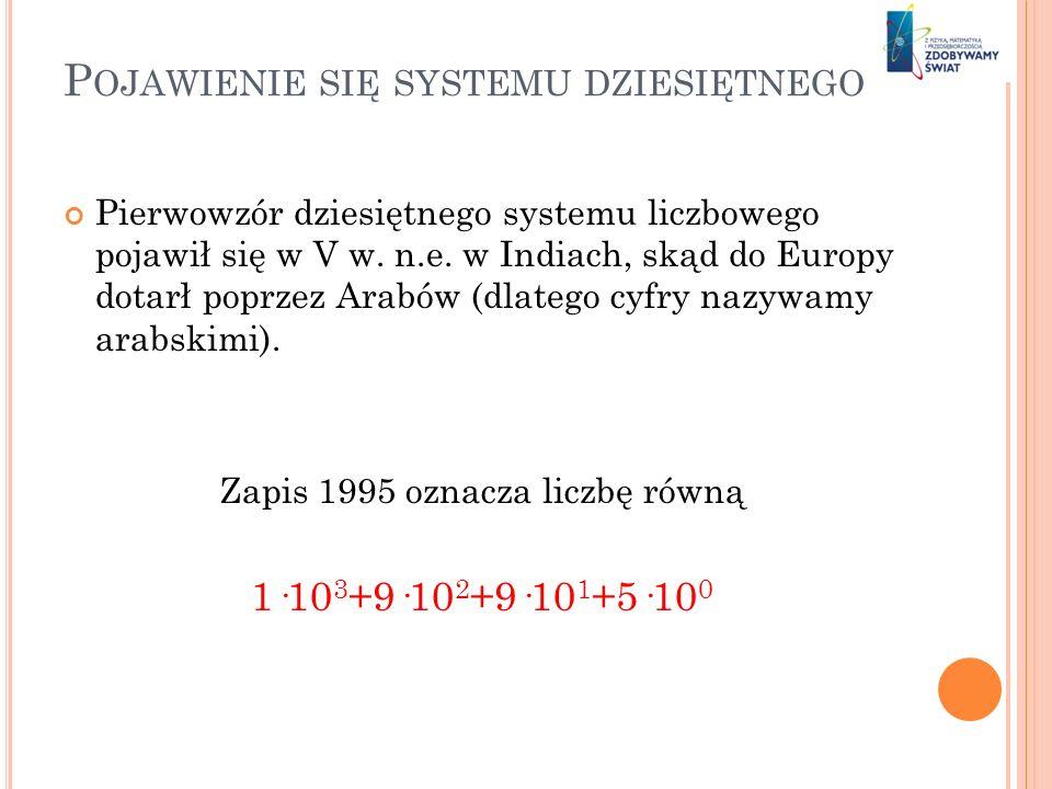P OJAWIENIE SIĘ SYSTEMU DZIESIĘTNEGO Pierwowzór dziesiętnego systemu liczbowego pojawił się w V w. n.e. w Indiach, skąd do Europy dotarł poprzez Arabó