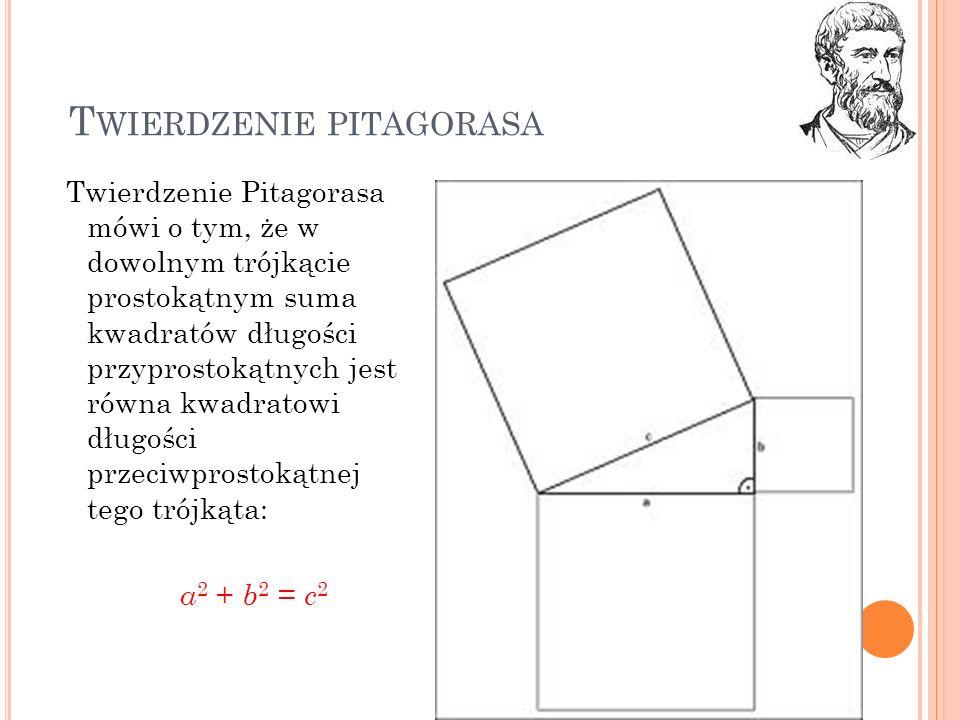 T WIERDZENIE PITAGORASA Twierdzenie Pitagorasa mówi o tym, że w dowolnym trójkącie prostokątnym suma kwadratów długości przyprostokątnych jest równa k