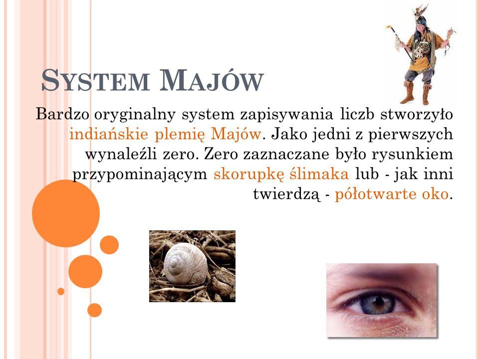 S YSTEM M AJÓW Bardzo oryginalny system zapisywania liczb stworzyło indiańskie plemię Majów. Jako jedni z pierwszych wynaleźli zero. Zero zaznaczane b