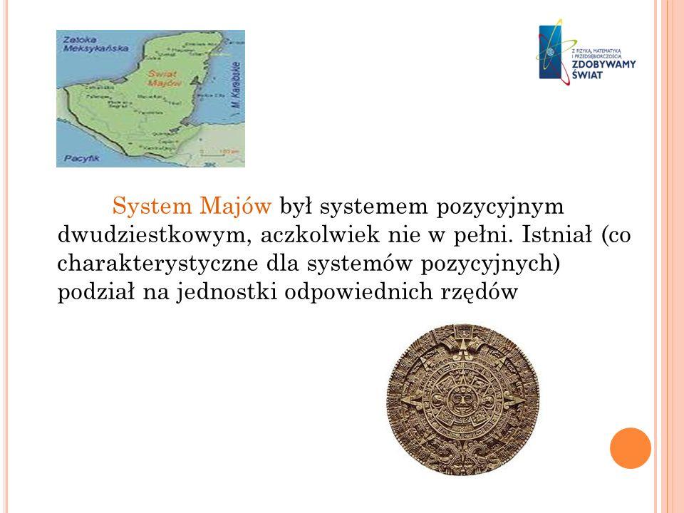 System Majów był systemem pozycyjnym dwudziestkowym, aczkolwiek nie w pełni. Istniał (co charakterystyczne dla systemów pozycyjnych) podział na jednos